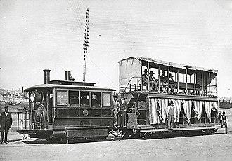 Sydney Steam Motor Tram - Sydney Steam motor and trailer car. 1879