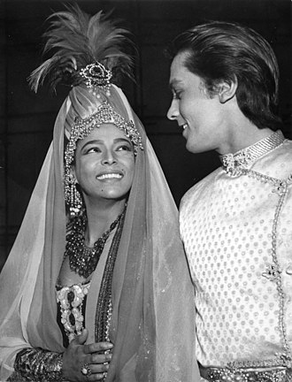 Dorothy Dandridge - Dandridge with Alain Delon in Belgrade in 1962 on the set of La Fabuleuse Aventure de Marco Polo, a Raoul Lévy-produced French-Italian film that was abandoned due to financial issues only to be completed several years later without either Dandridge or Delon.