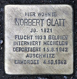 Photo of Norbert Naphtali Glatt brass plaque