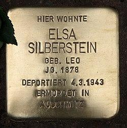 Photo of Elsa Silberstein brass plaque
