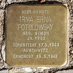 Photo of Irma Erna Potolowsky brass plaque