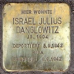 Photo of Israel Julius Danglowitz brass plaque