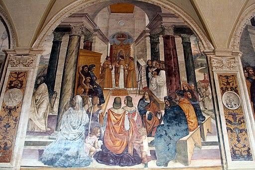 Il Sodoma ,Storie di San Benedetto, 33 - Come Benedetto scomunica due religiose e le assolve poi che furono morte