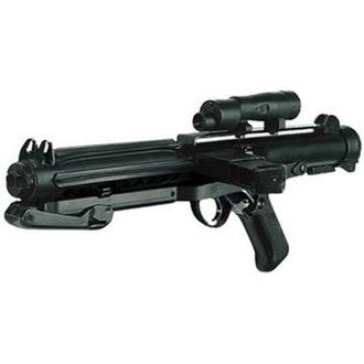 Blaster (Star Wars) - A prop E-11 blaster carbine based from Sterling Gun, as used by Imperial stormtroopers.