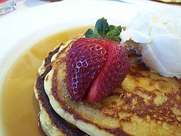 Strawberry on pancake