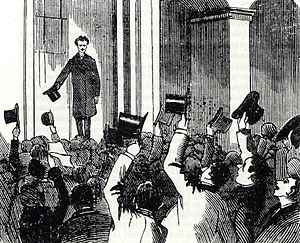 Getting Married (collection) - Newspaper illustration of Strindberg's reception on his return to Stockholm on 20 October 1884 to face charges of blasphemy arising from a story in the first volume of his collection Getting Married.