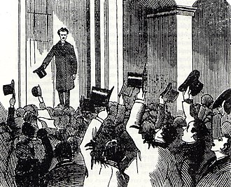 1884 in Sweden - Newspaper illustration of Strindberg's reception on his return to Stockholm on 20 October 1884 to face charges of blasphemy arising from a story in the first volume of his collection Getting Married.
