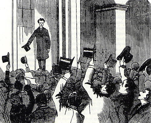 Newspaper illustration of Strindberg's reception on his return to Stockholm on 20 October 1884 to face charges of blasphemy arising from a story in the first volume of his collection Getting Married. Strindberg's reception in Stockholm 20-10-1884.jpg