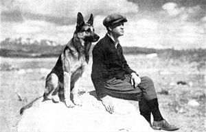 Laurence Trimble - Strongheart and Trimble, in a photograph that led Trimble's series of articles for The American Boy magazine (February 1930)