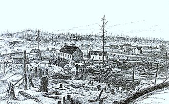 Greater Sudbury - A Canadian Pacific Railway junction in Sudbury in 1888. Construction for the railway led to the discovery of high concentrations of nickel-copper ore at the edge of the Sudbury Basin.