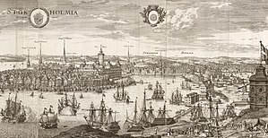 Battle of Öland - Detail of engraving of Stockholm from Suecia antiqua et hodierna by Erik Dahlberg and Willem Swidde, printed in 1693. The view shows the Swedish capital as a bustling port, and in the foreground the peak of Kastellholmen next to the royal shipyards on Skeppsholmen.