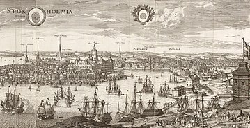 Detail of engraving of Stockholm from Suecia Antiqua et Hodierna by Erik Dahlbergh and Willem Swidde, printed in 1693. Suecia 1-013 ; Stockholm fran oster-right side detail.jpg