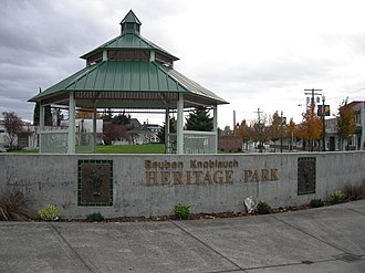 Sumner, Washington - Reuben Knoblauch Heritage Park near the Sounder commuter rail station that connects Sumner to Seattle and Tacoma.