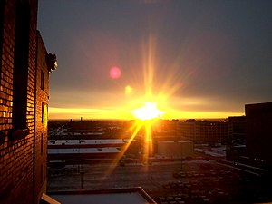Sunrise on January 21, 2008. Facing east from ...