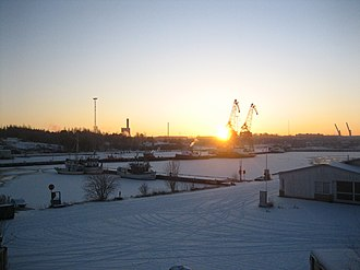 Rauma, Finland - Sunset at the port of Rauma