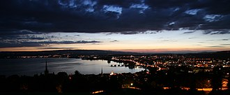 Zug - Night view of Zug and its lake