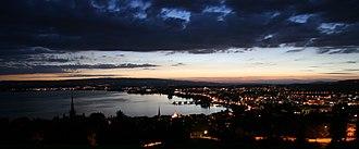 Zug - Night view of Zug and its lake