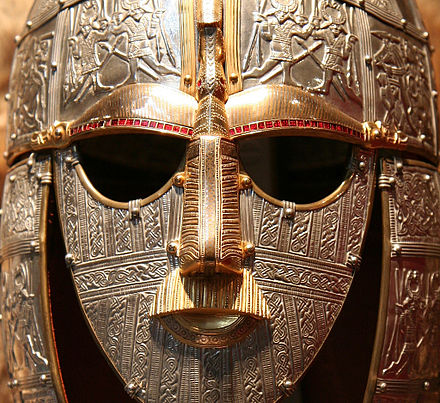 Replica of the 7th-century ceremonial Sutton Hoo helmet from the Kingdom of East Anglia Sutton Hoo replica (face).jpg