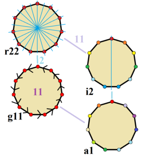 Hendecagon - Symmetries of a regular hendecagon. Vertices are colored by their symmetry positions. Blue mirror lines are drawn through vertices and edge. Gyration orders are given in the center.