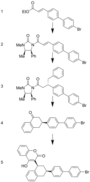 Brodifacoum - Stereospecific formation of Brodifacoum using an asymmetric organocopper compound.