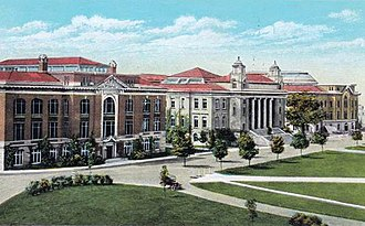 Syracuse University - From left to right: Bowne Hall, Carnegie Library, Archbold Gymnasium