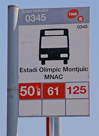 Buses in Barcelona - A typical TMB bus stop near Estadi Olímpic Lluís Companys.
