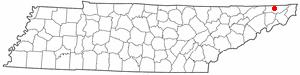 Blountville, Tennessee - Image: TN Map doton Blountville