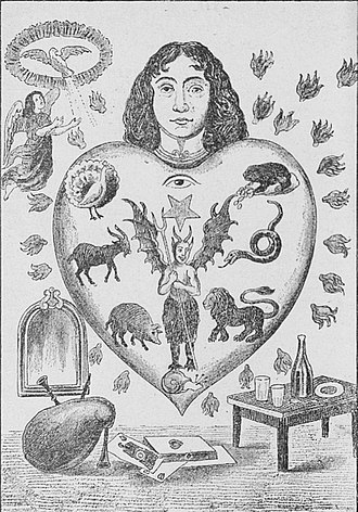 Seven deadly sins - An allegorical image depicting the human heart subject to the seven deadly sins, each represented by an animal (clockwise: toad = avarice; snake = envy; lion = wrath; snail = sloth; pig = gluttony; goat = lust; peacock = pride).