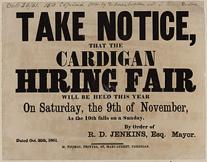 Hiring and mop fairs - An advertisement for a hiring fair in 1861