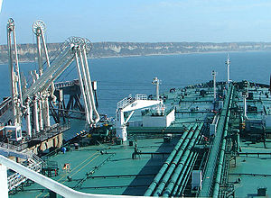Marine transfer operations - Tanker ship arriving at a Marine Terminal.