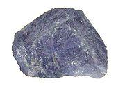 A rough sample of tanzanite.