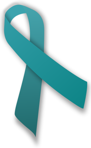 A teal ribbon, which is an awareness ribbon fo...