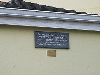"""Kilfenora - A plaque on the Kilfenora village hall commemorating """"Ted Fest"""""""