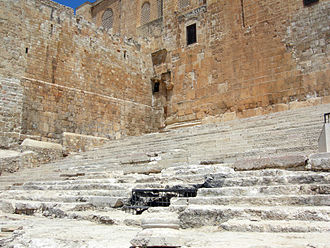 Temple in Jerusalem - Remnants of the 1st century Stairs of Ascent, discovered by archaeologist Benjamin Mazar, to the entrance of the Temple Courtyard. Pilgrims coming to make sacrifices at the Herodian Temple would have entered and exited by this stairway.