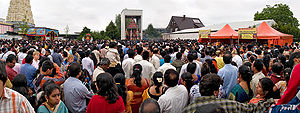 Tamil Germans - Tamil pilgrims gathered outside the Kamadchi Amman Temple in Hamm, for a temple festival in 2007.