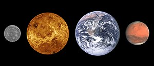 Terrestrial planet - The terrestrial planets of the Solar System: Mercury, Venus, Earth, and Mars, sized to scale