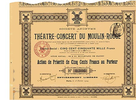 Priority ticket for the S.A. du Theatre-Concert du Moulin-Rouge, issued 15 February 1904 Theatre-Concert du Moulin-Rouge 1904.jpg