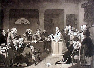 Stephen Crane (Continental Congress) - 'First Prayer in Congress'; the first Continental Congress September, 1774. Stephen Crane is the second person to the right of Reverend Jacob Duché at the lectern.