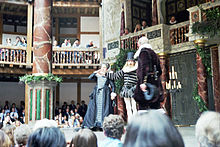 "Performance of ""The Comedy of Errors"" at the restored Globe theatre."