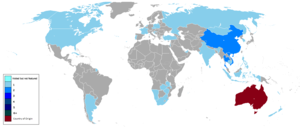 The Amazing Race Australia - Countries that The Amazing Race Australia has visited are shown in colour.