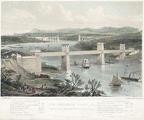 The Britannia tubular, and Menai suspension bridges