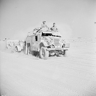 1st Sussex Artillery Volunteers - 25-pounder and Quad tractor moving up to the front in the Western Desert, 29 October 1942.