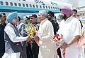 The Chief Minister of Haryana Shri. Bhupinder Singh Hooda, and the Chief Minister of Punjab Capt. Amrinder Singh, receiving Prime Minister Dr. Manmohan Singh on his arrival at Chandigarh airport on April 13,2005.jpg