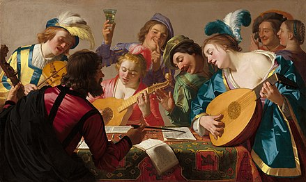 Musicians of the late Renaissance/early Baroque era (Gerard van Honthorst, The Concert, 1623) The Concert A22894.jpg
