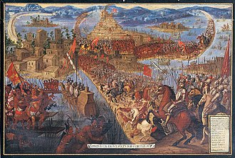 "Fall of Tenochtitlan - ""Conquista de México por Cortés"". Unknown artist, second half of the 17th century. Library of Congress, Washington, DC.  The depiction of the Aztecs' clothing and weaponry is inaccurate."