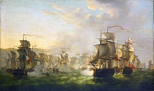 Martinus Schouman - The Dutch and English fleets meet on the way to Boulogne, 1805