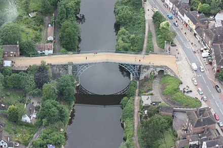 The Iron Bridge, in its previous grey colour, from above in 2008 The Iron Bridge (Aerial).JPG