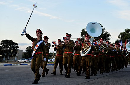 The Israel Defense Forces Orchestra is the main musical ensemble of the Israel Defense Forces. The Israeli Defense Forces band marches during the closing ceremony of Austere Challenge 2012 at Hatzor Israeli Air Force Base, Israel 121108-F-QW942-004.jpg
