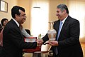 The Minister of State (Independent Charge) for Youth Affairs and Sports, Shri Ajay Maken with his Azeri counterpart, Mr Azad Rahimov, during his visit to Baku, Azerbaijan on June 29, 2012.jpg
