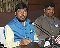 The Minister of State for Social Justice & Empowerment, Shri Ramdas Athawale addressing a press conference, in Guwahati on April 27, 2017.jpg